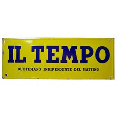 Italian Vintage Enamel Acid Yellow and Blue Il Tempo Newspaper Sign, 1950s