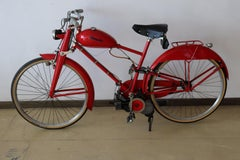 Italian Vintage Garelli Mosquito Collectible Motorcycle in Color Red, 1950s