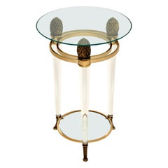 Italian Vintage Glass & Acrylic Side Table