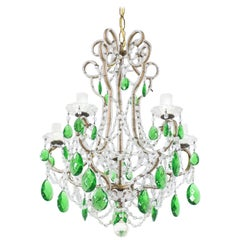 Italian Vintage Green Crystal Beaded Chandelier