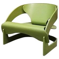 Italian Vintage Green Wood 4801 Armchair by Joe Colombo for Kartell, 1964