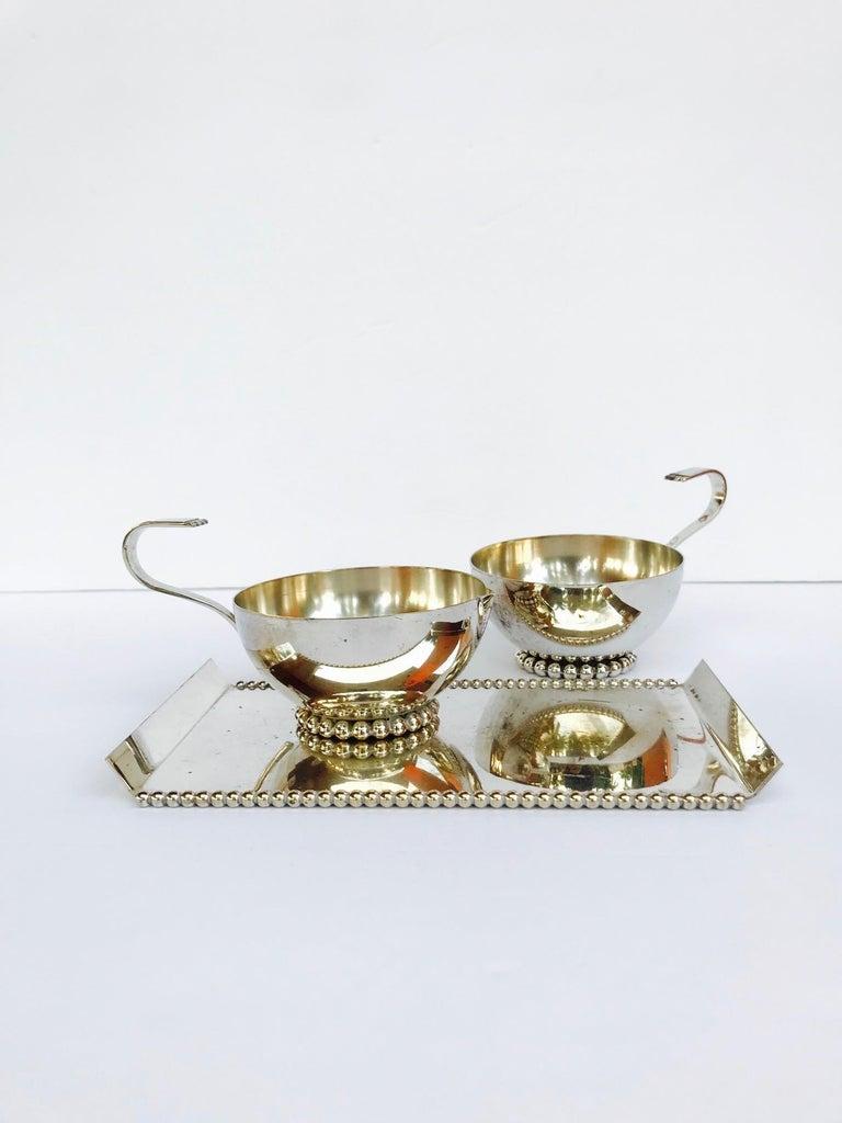 Mid-Century Modern Italian Vintage Handmade Silver Creamer and Sugar Serving Set, 1970s For Sale