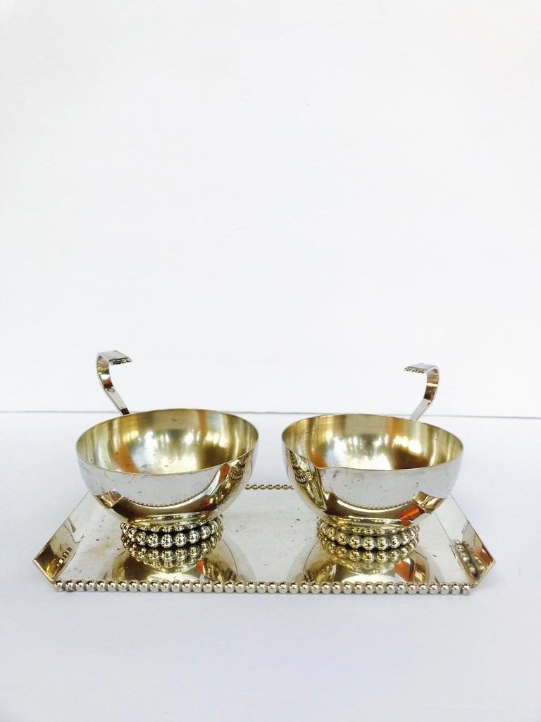 Italian Vintage Handmade Silver Creamer and Sugar Serving Set, 1970s In Good Condition For Sale In Miami, FL