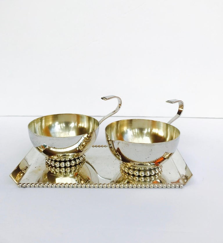 Late 20th Century Italian Vintage Handmade Silver Creamer and Sugar Serving Set, 1970s For Sale