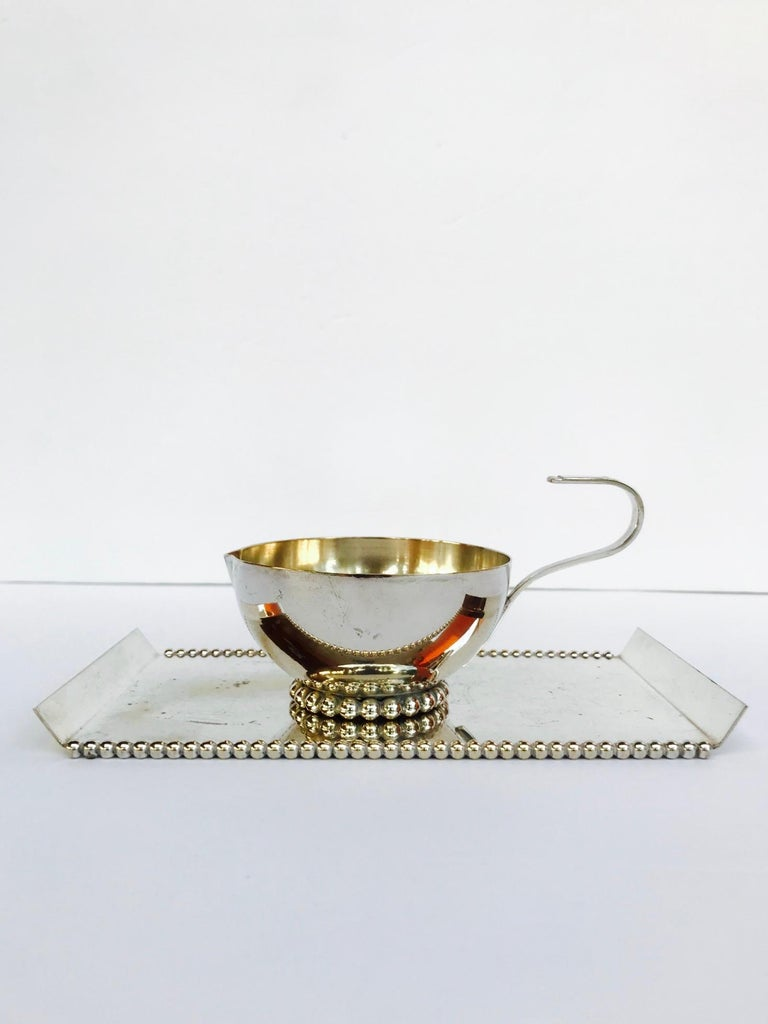 Silver Plate Italian Vintage Handmade Silver Creamer and Sugar Serving Set, 1970s For Sale