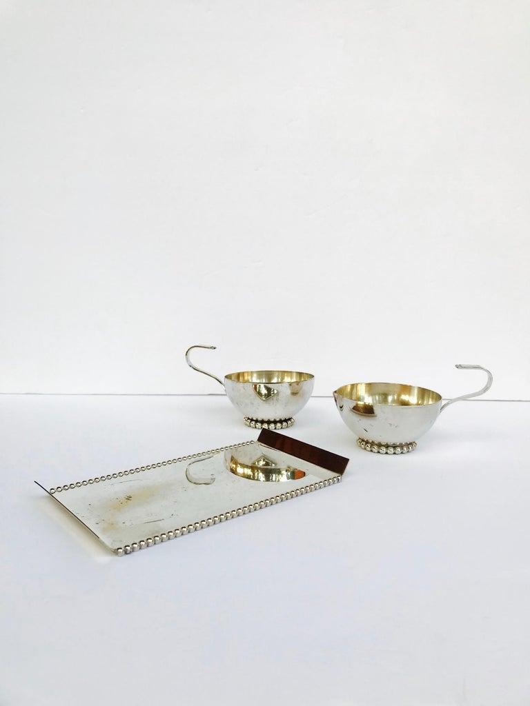Italian Vintage Handmade Silver Creamer and Sugar Serving Set, 1970s For Sale 1