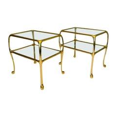 Italian Vintage Hollywood Regency Brass Glass Side Tables