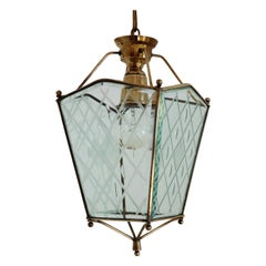 Italian Vintage Lantern in Crystal Cut Glass and Brass, 1950s