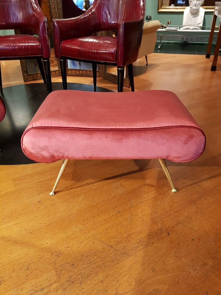 Italian Vintage Magenta Velvet Brass Legs Stool or Bench, 1950s For Sale 5