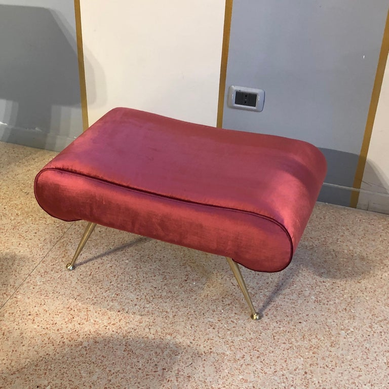 Italian vintage magenta velvet brass legs stool or bench, 1950s 