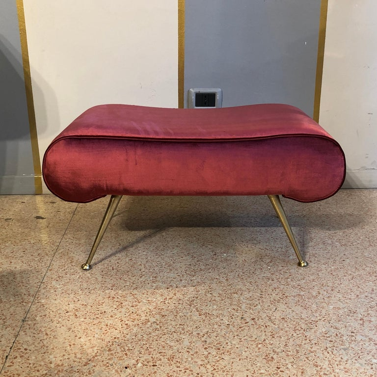 Mid-Century Modern Italian Vintage Magenta Velvet Brass Legs Stool or Bench, 1950s For Sale