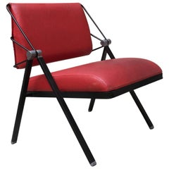 Italian Vintage Metal and Red Leather Armchair by Formanova, 1970s