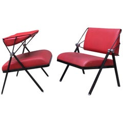Italian Vintage Metal and Red Leather Armchairs by Formanova, 1970s