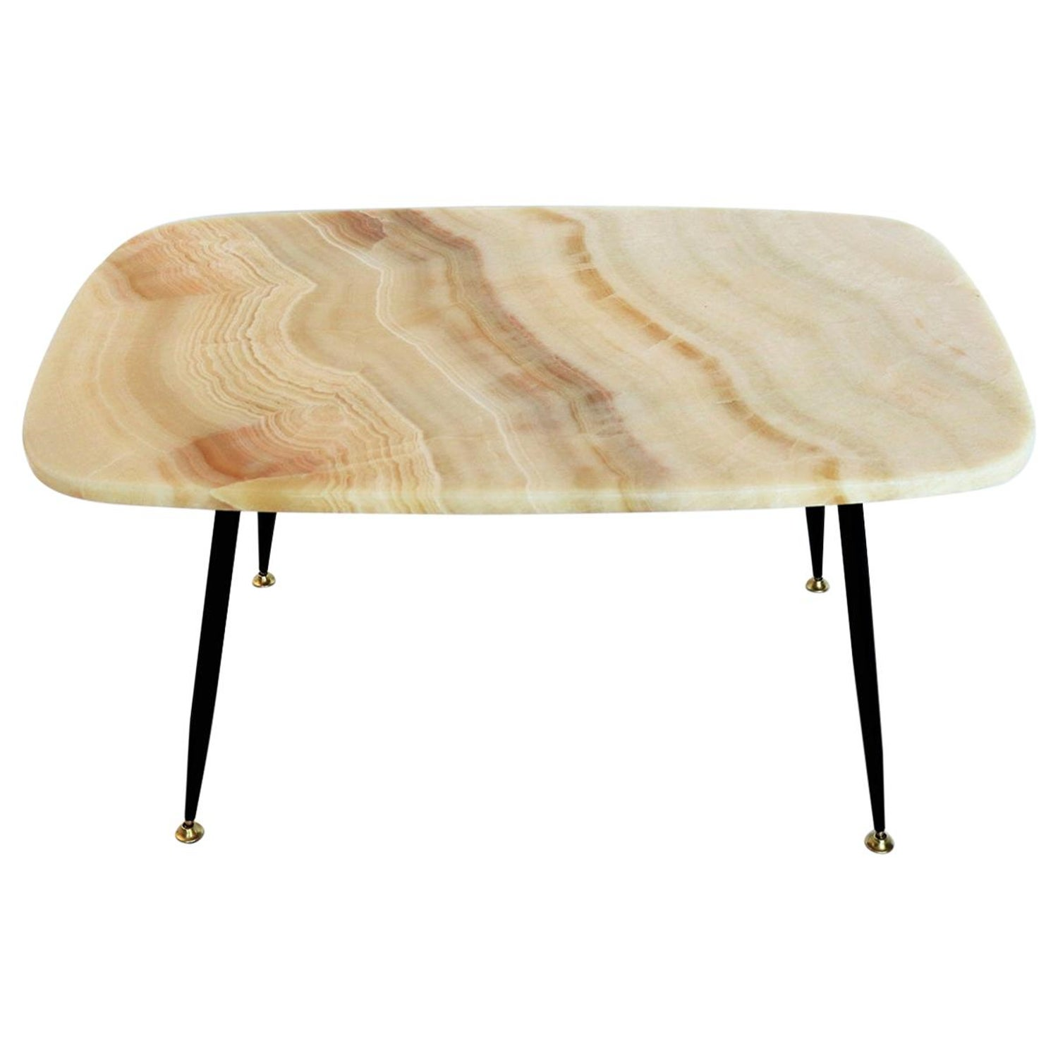 Italian Vintage Midcentury Pink Onyx Marble Coffee Table With