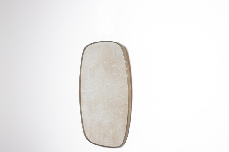 Mid-20th Century Italian Vintage Mirror in Brass and Antique Glass, 1950s