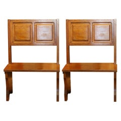 Italian Vintage Modernist Brutalist Style Solid Wood High Back Settee Benches