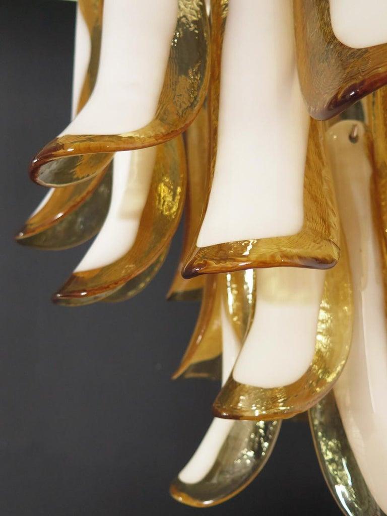 Blown Glass Italian Vintage Murano Chandelier, 26 Amber Glass Petals