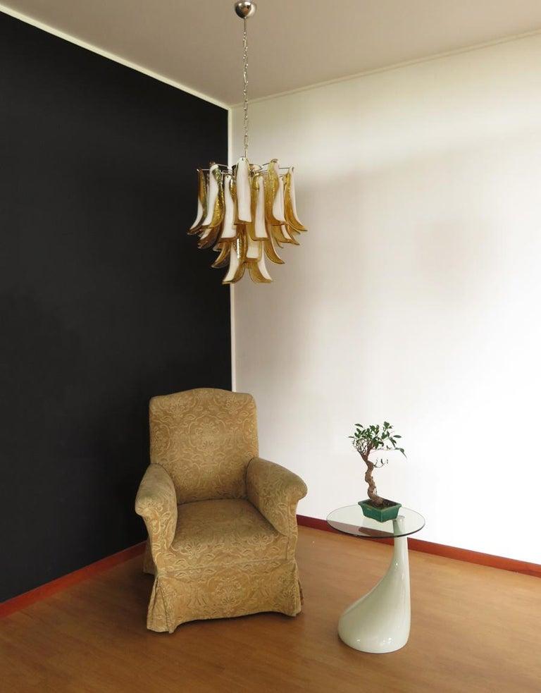 Italian Vintage Murano Chandelier, 26 Amber Glass Petals 2