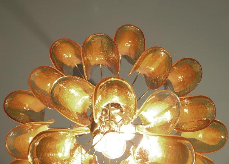 Italian Vintage Murano Chandelier, 26 Amber Glass Petals 3