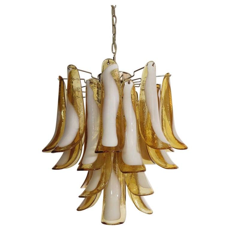 Italian Vintage Murano Chandelier, 26 Amber Glass Petals
