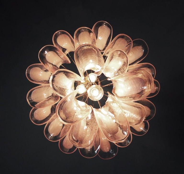 Italian Vintage Murano Chandelier, 26 Pink Glass Petals For Sale 2