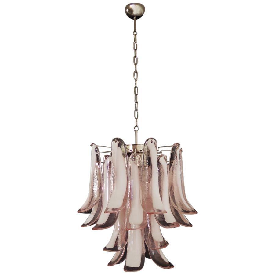 Italian Vintage Murano Chandelier, 26 Pink Glass Petals