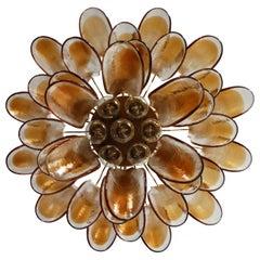 Italian Vintage Murano Chandelier - 36 Lattimo Amber Glass Petals