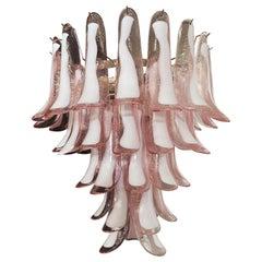 Italian Vintage Murano Chandelier, 52 Pink Glass Petals