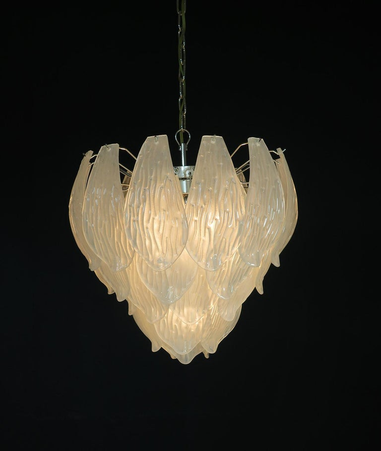 Italian Vintage Murano Chandelier, Frosted Carved Glass Leaves For Sale 4