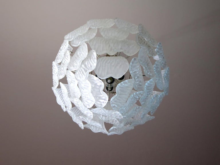 Late 20th Century Italian Vintage Murano Chandelier, Frosted Carved Glass Leaves For Sale