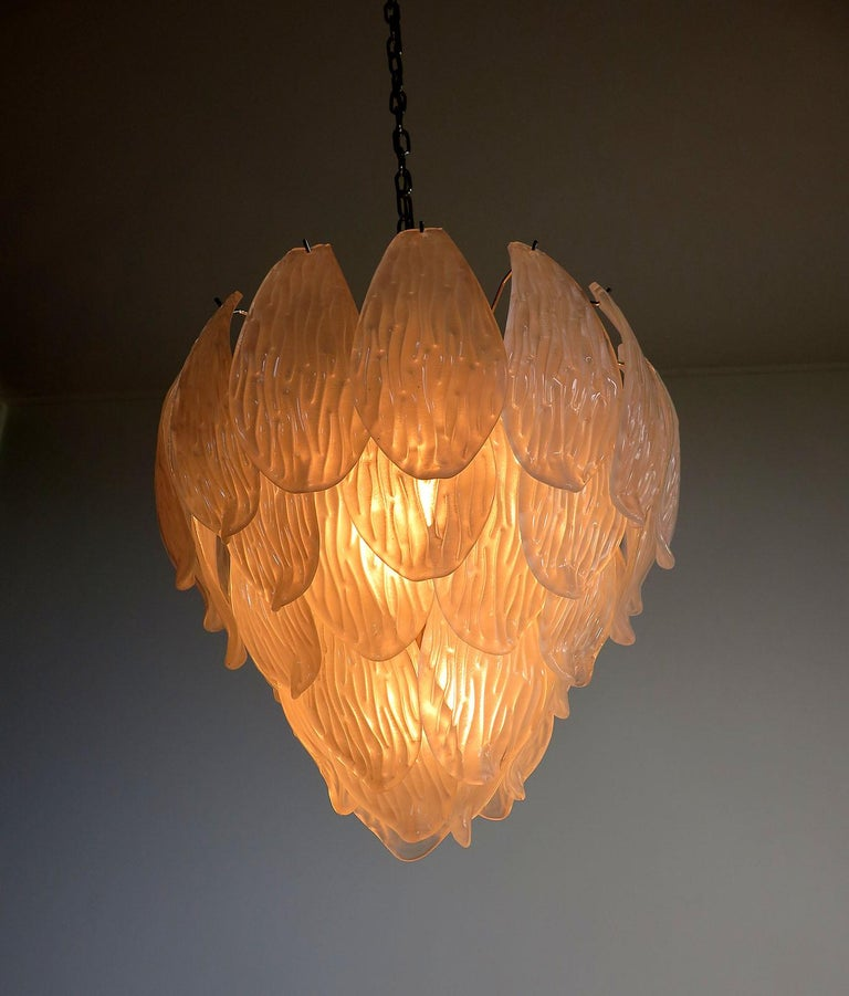 Italian Vintage Murano Chandelier, Frosted Carved Glass Leaves For Sale 1