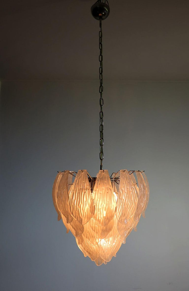 Italian Vintage Murano Chandelier, Frosted Carved Glass Leaves For Sale 2