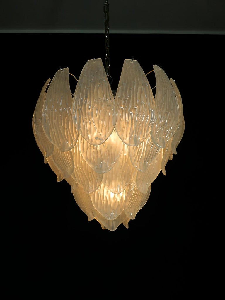 Italian Vintage Murano Chandelier, Frosted Carved Glass Leaves For Sale 3