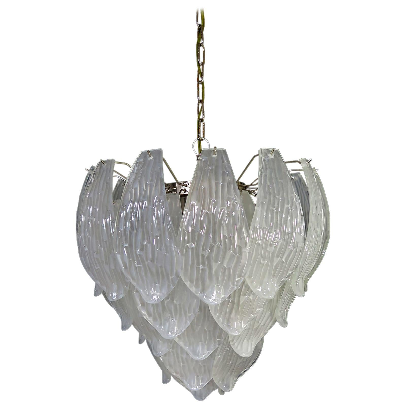 Italian Vintage Murano Chandelier, Frosted Carved Glass Leaves