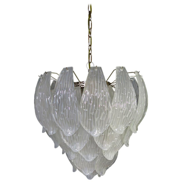 Italian Vintage Murano Chandelier, Frosted Carved Glass Leaves For Sale