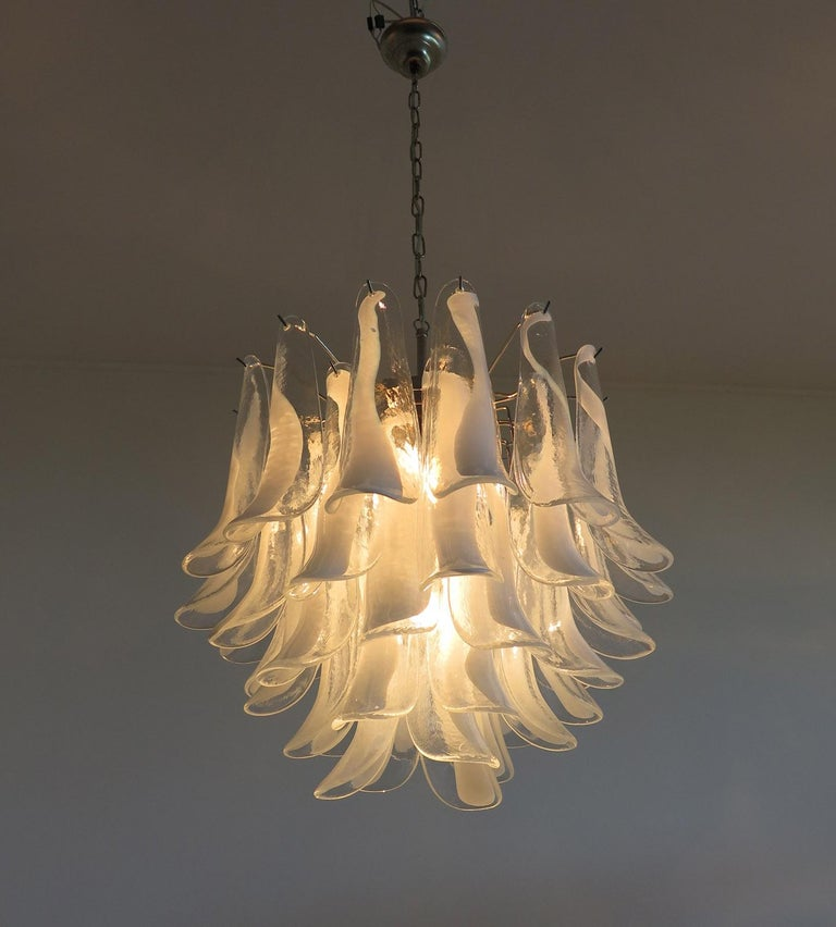 Blown Glass Italian Vintage Murano Chandelier in the Manner of Mazzega, 41 Glass Petals