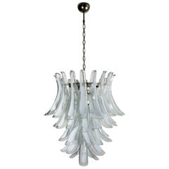 Italian Vintage Murano Chandelier in the Manner of Mazzega, 52 Big Glass Petals
