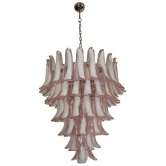 Italian Vintage Murano Chandelier in the Manner of Mazzega, 75 Pink Glass Petal