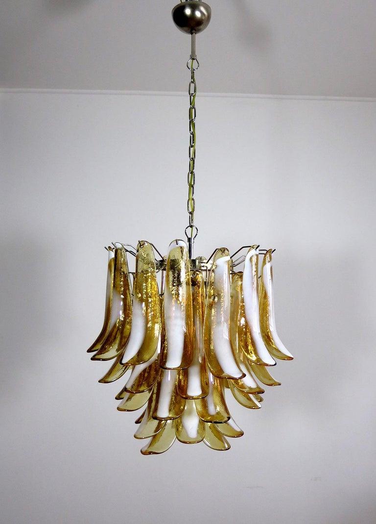 Blown Glass Italian Vintage Murano Chandelier, Mazzega, 41 Caramel Lattimo Glass Petals
