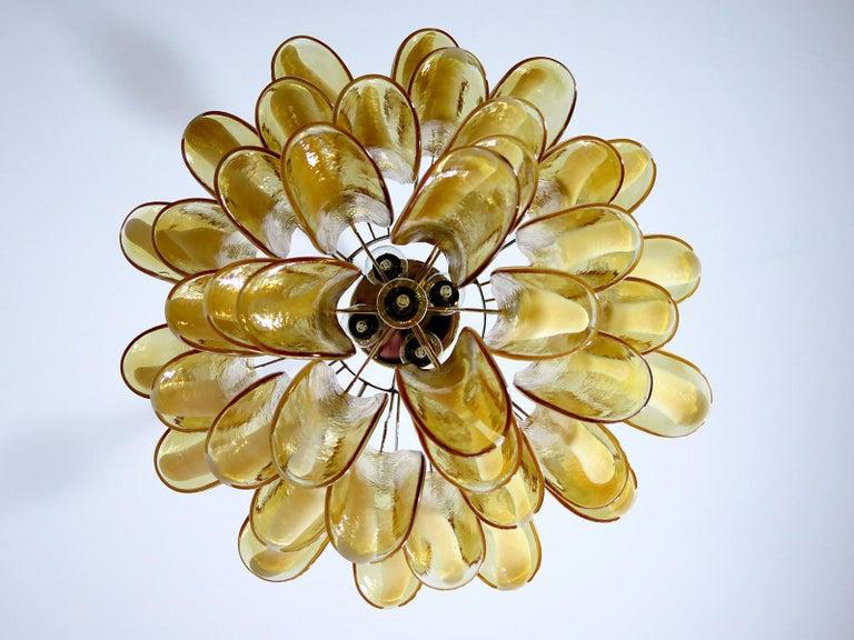 Italian Vintage Murano Chandelier, Mazzega, 41 Caramel Lattimo Glass Petals 3