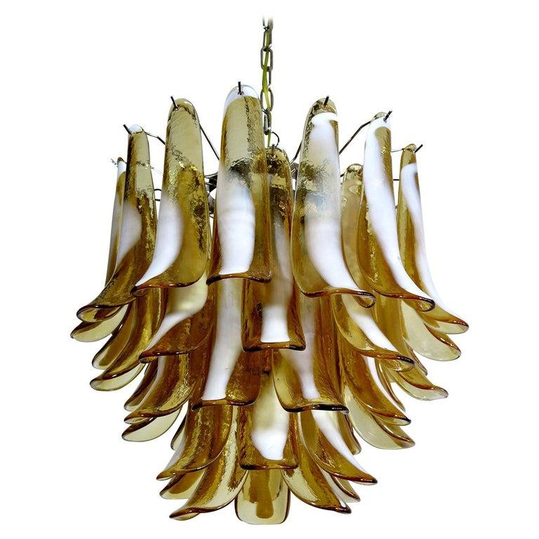 Italian Vintage Murano Chandelier, Mazzega, 41 Caramel Lattimo Glass Petals