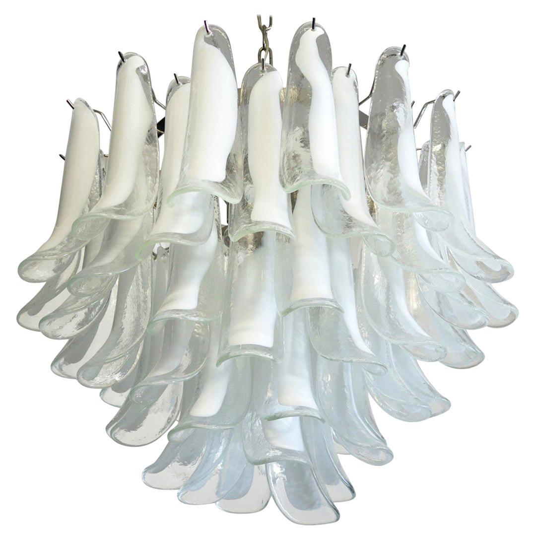 Italian Vintage Murano Chandelier, Mazzega, 53 Tasparent Lattimo Glass Petals