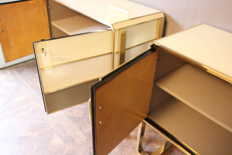 Brass Italian Vintage Murano Glass Covered Pair of Cabinets For Sale