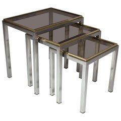 Italian Vintage Nesting Tables by Willy Rizzo, Set of Three, 1970s