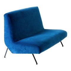 Italian Vintage New Blue Velvet 2-Seat Sofa, 1950s