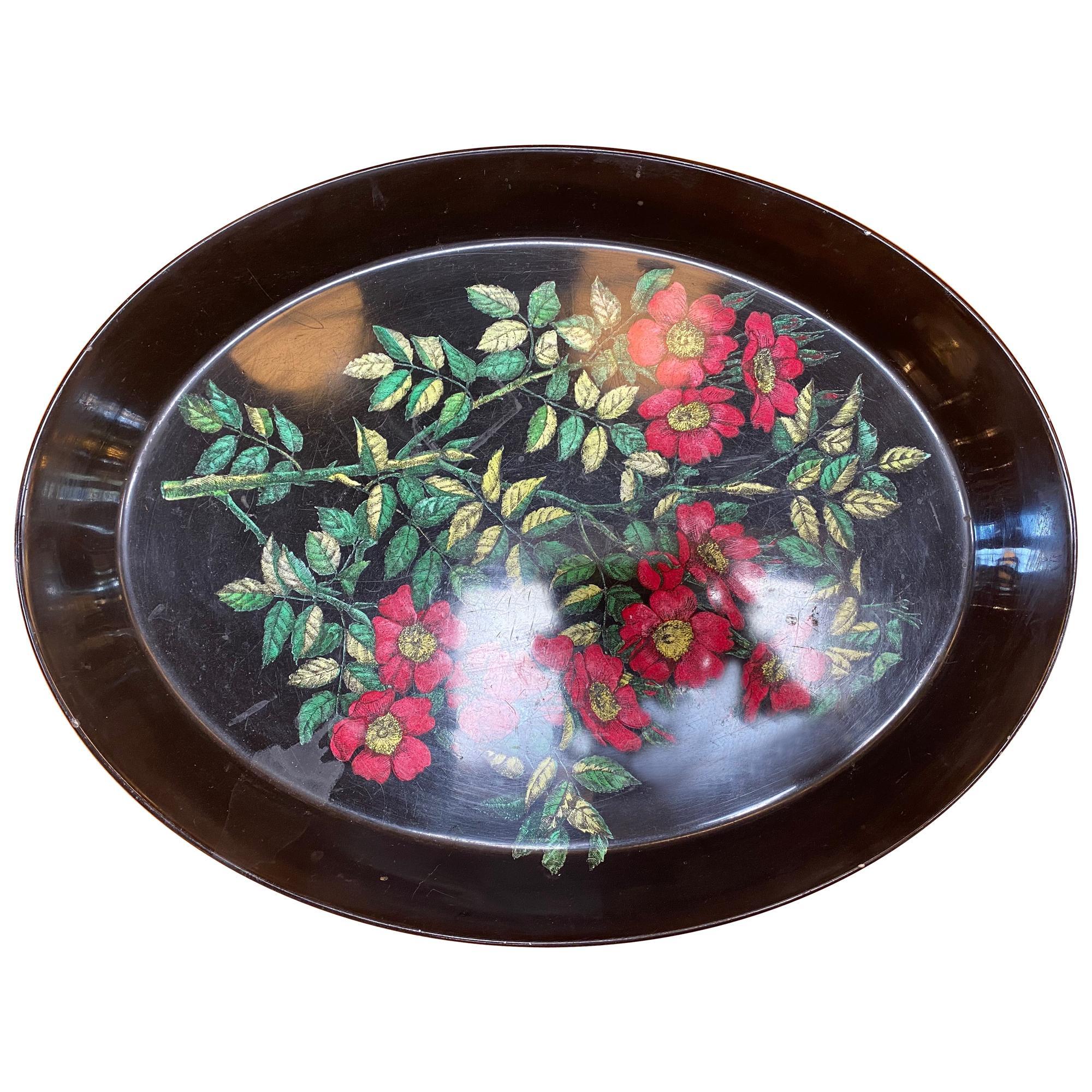 """Italian Vintage Oval Tray """"FIORI"""" by Piero Fornasetti, Italy, 1960s"""