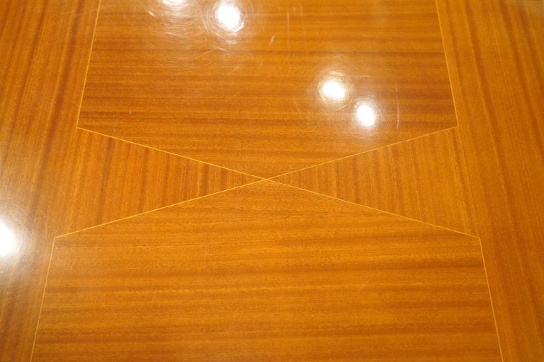 Italian Vintage Paolo Buffa Inspired Extendable Parquetry Dining Table In Good Condition In Ft. Lauderdale, FL