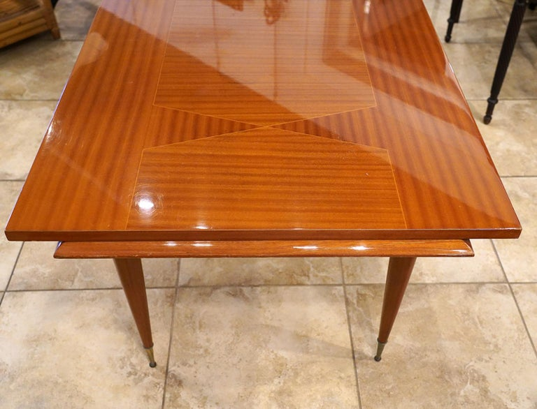 20th Century Italian Vintage Paolo Buffa Inspired Extendable Parquetry Dining Table