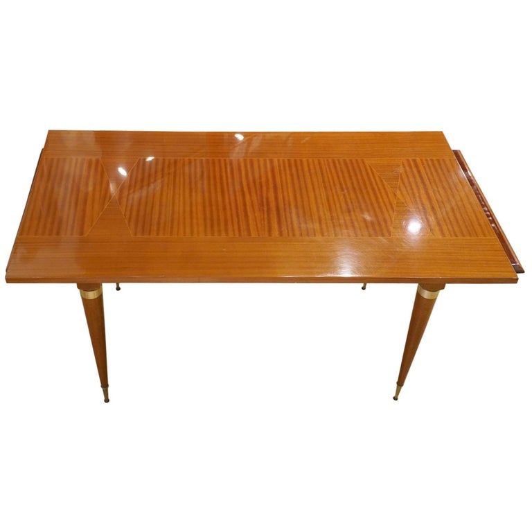 Italian Vintage Paolo Buffa Inspired Extendable Parquetry Dining Table