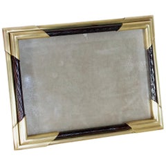 Italian Vintage Picture Frame in Brass and Wood